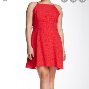 BB Dakota Matrix Dot Print Dress (plus size), red